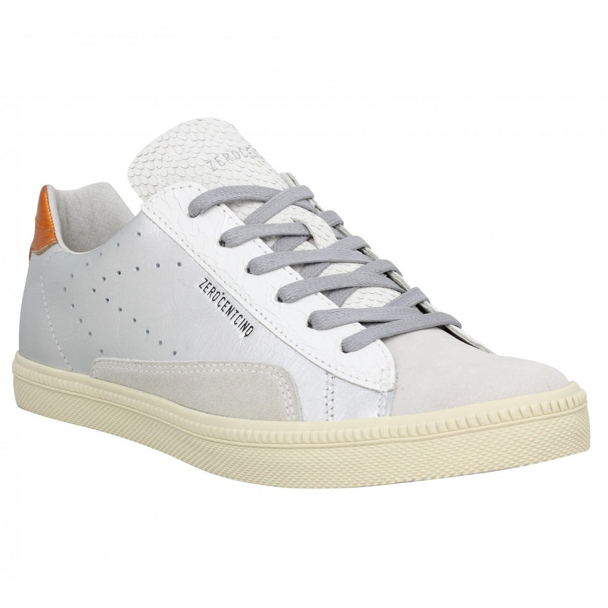 Baskets 0-105 Stan Chris cuir Femme Argent Orange