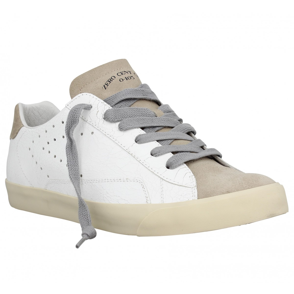 Baskets 0-105 Stan Clay cuir Homme Blanc Taupe