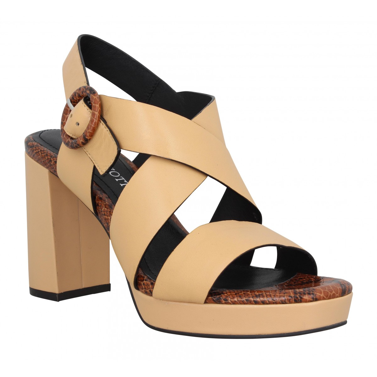 Sandales talons ADELE DEZOTTI 1708 cuir Femme Camel