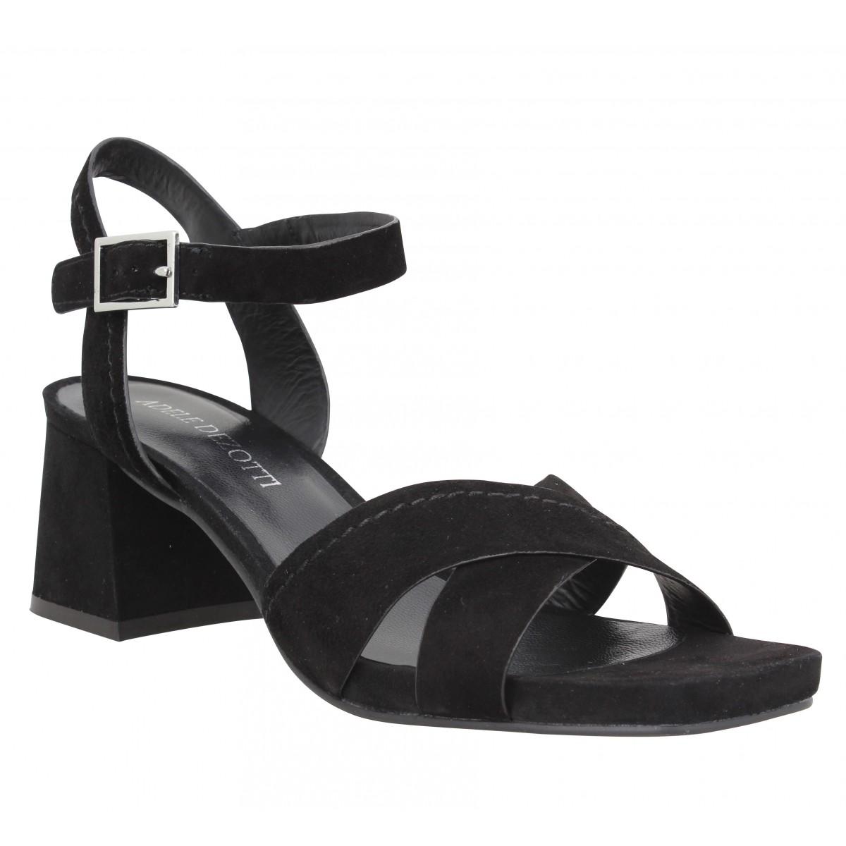 Sandales talons ADELE DEZOTTI 176 velours Femme Noir