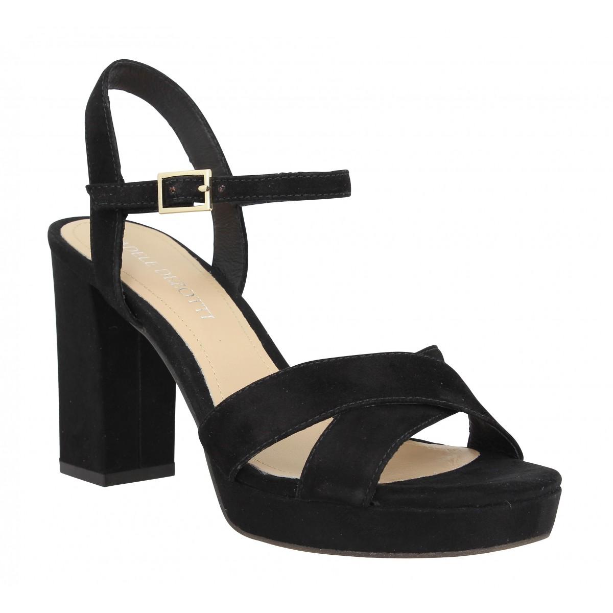 Sandales talons ADELE DEZOTTI 180 velours Femme Noir