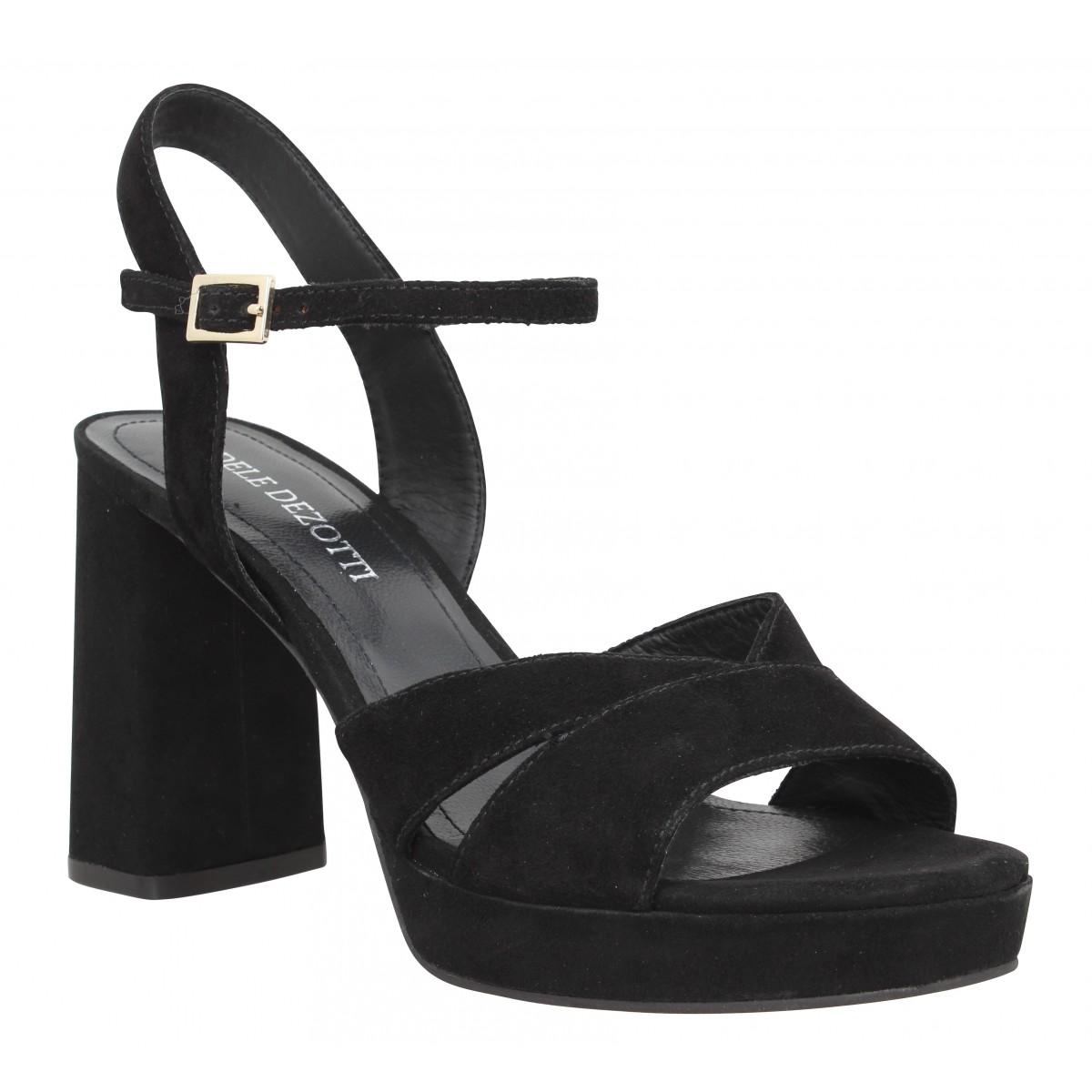 Sandales talons ADELE DEZOTTI 2900 velours Femme Noir