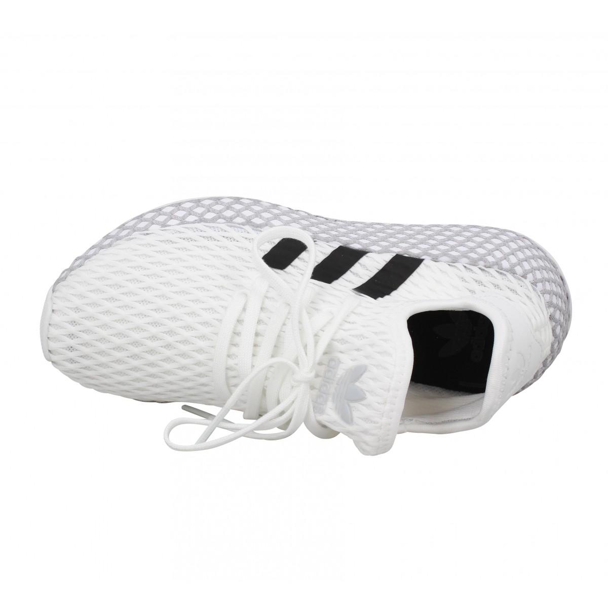 Chaussures Adidas deerupt runner toile enfant blanc enfants ...