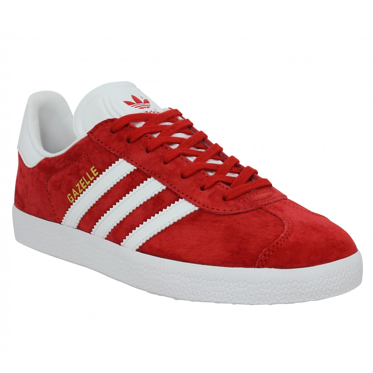 Homme Plus Grand Rouge adidas Baskets en cuir velours