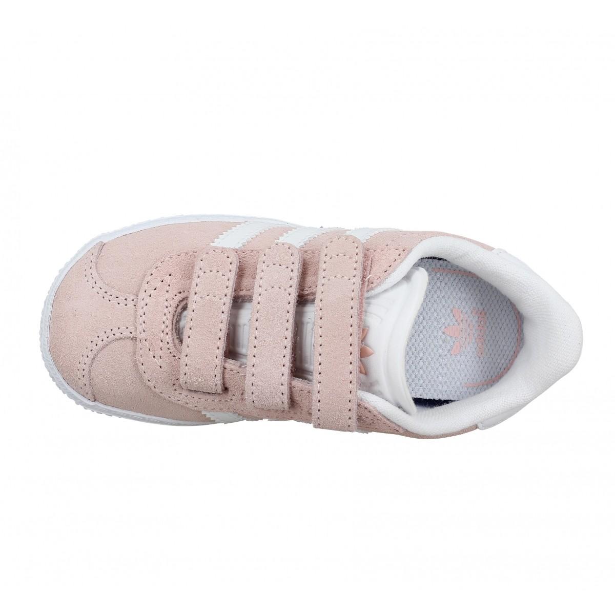 Chaussures Adidas gazelle velours enfant rose enfants