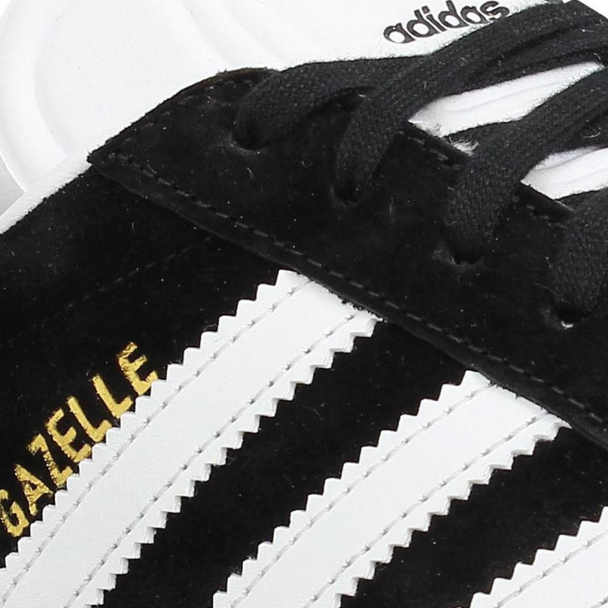 Adidas gazelle velours femme noir blanc | Fanny chaussures