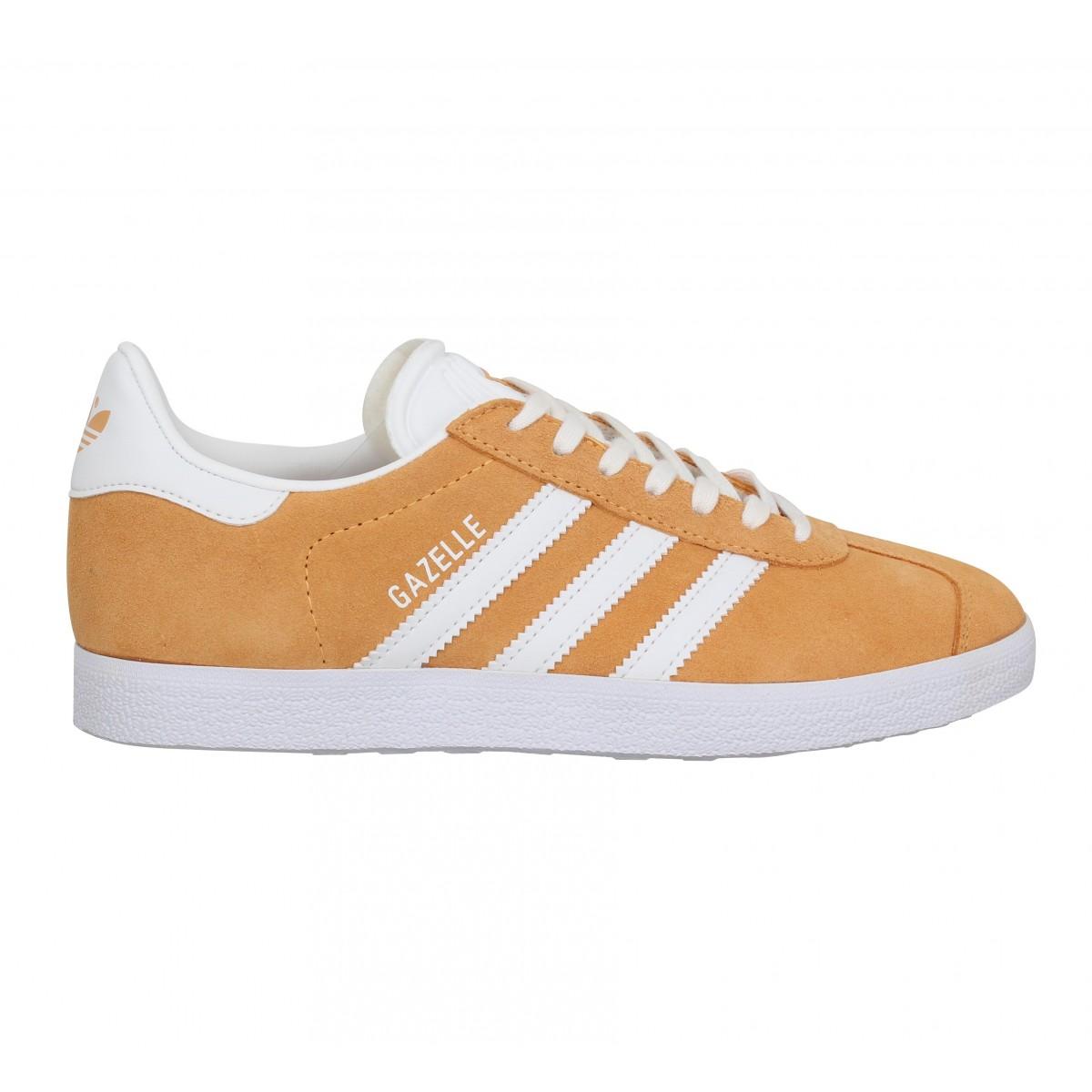 Chaussures Adidas gazelle velours femme orange brut femme | Fanny ...