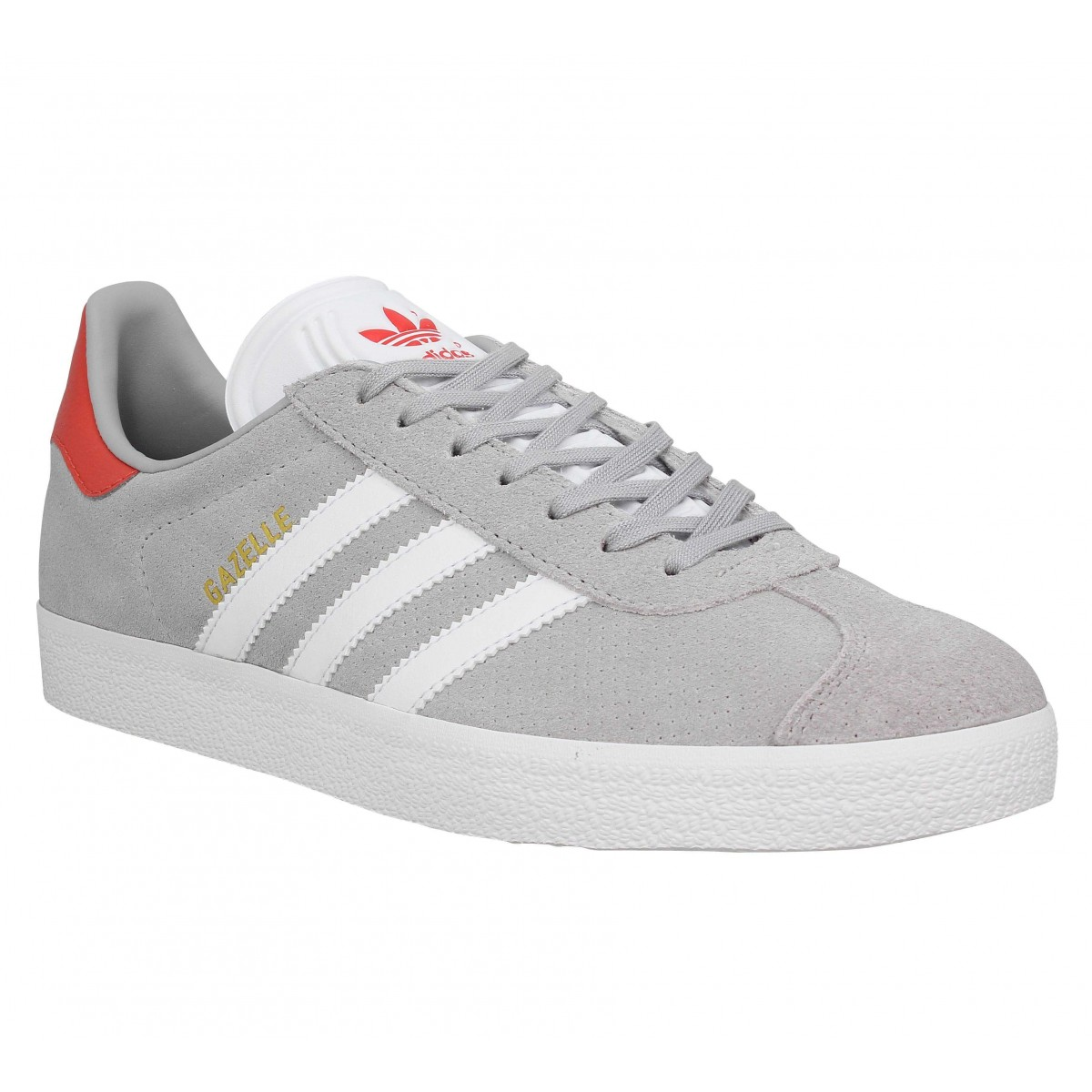 Baskets ADIDAS Gazelle velours Homme Gris Rouge