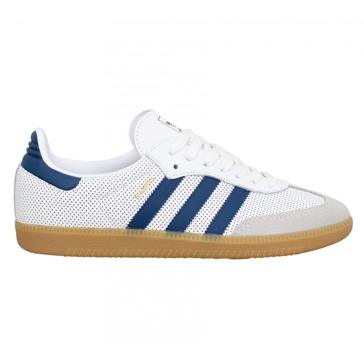 ADIDAS Samba OG cuir Homme Blanc Bleu