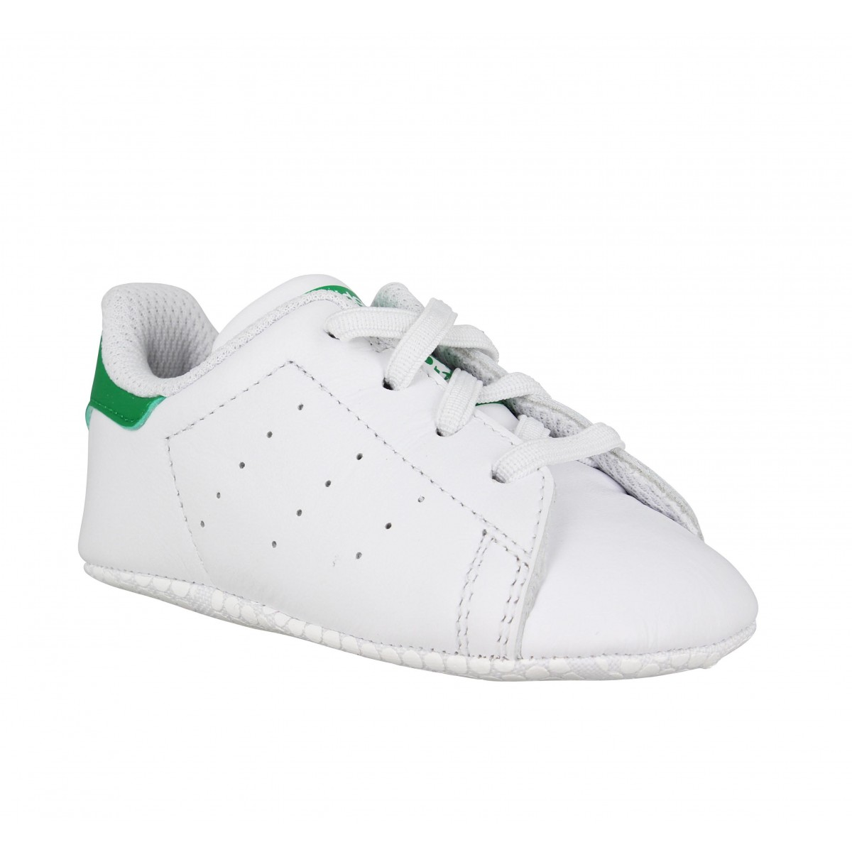 Baskets ADIDAS Stan Smith Bebe cuir Enfant Blanc + Vert