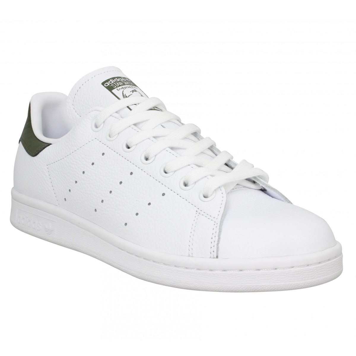 Baskets ADIDAS Stan Smith cuir Blanc Kaki