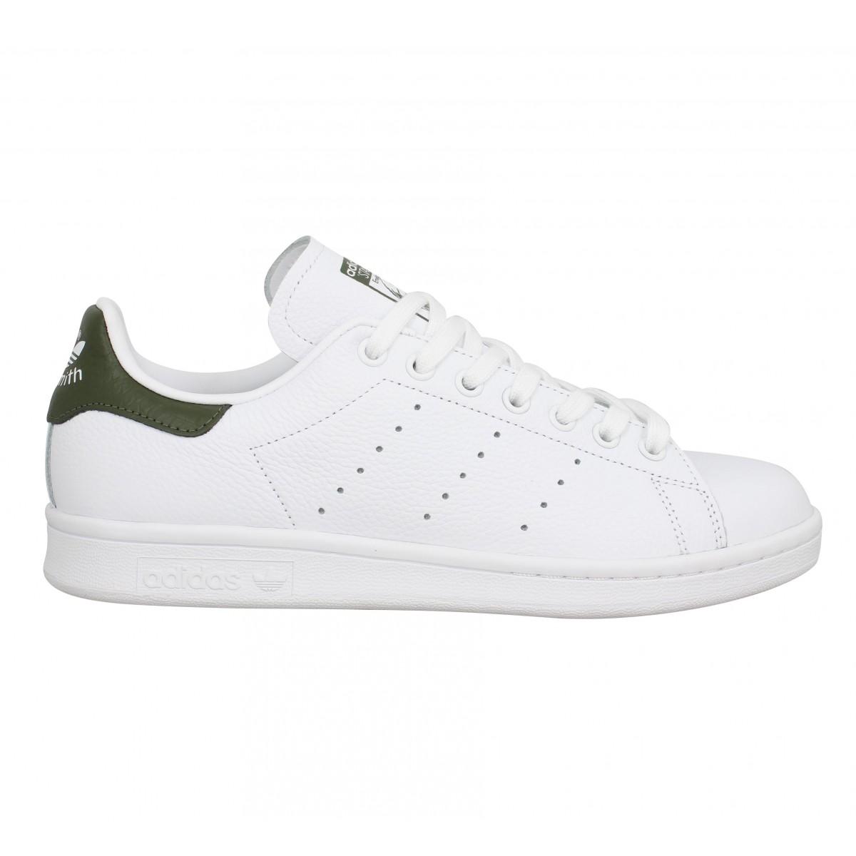 Chaussures Adidas stan smith cuir blanc kaki femme homme | Fanny ...