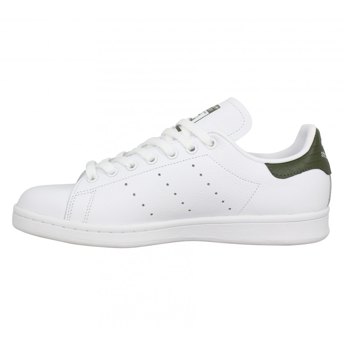 Chaussures Adidas stan smith cuir blanc kaki femme homme