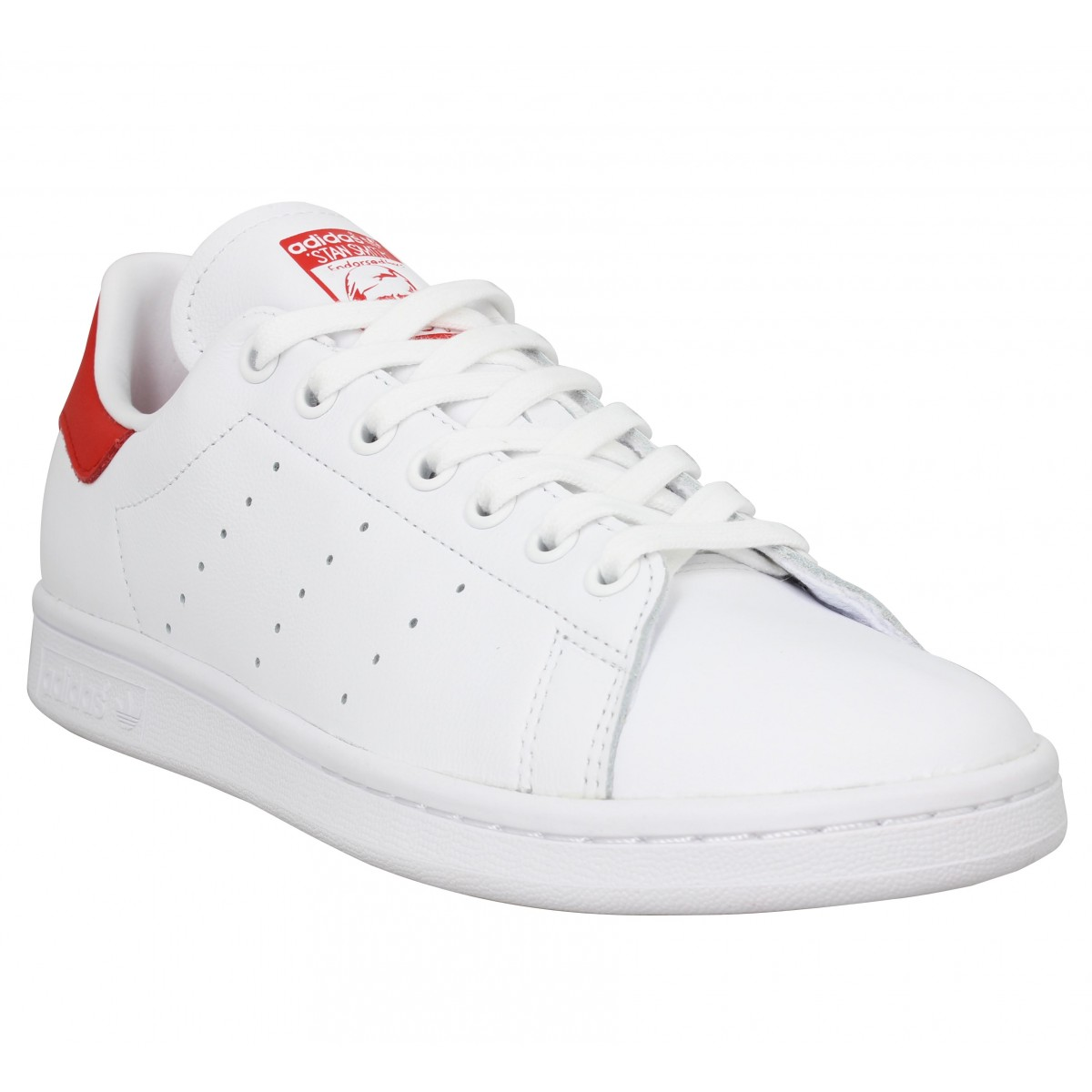 ADIDAS Stan Smith cuir Blanc Rouge