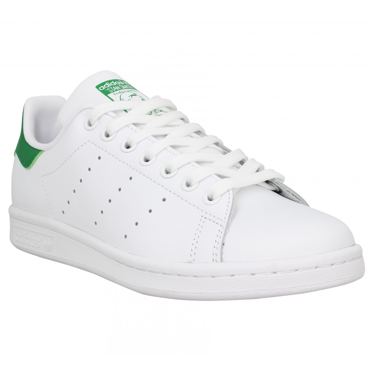 low priced f336a b6e0b Baskets ADIDAS Stan Smith cuir Blanc Vert