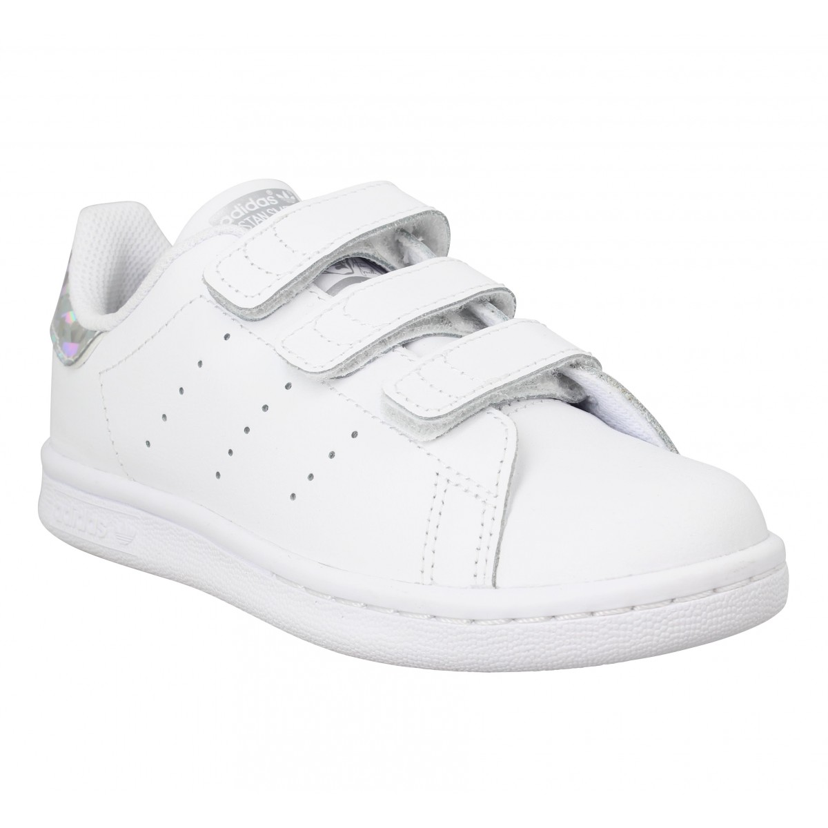 Baskets ADIDAS Stan Smith cuir Enfant Blanc Holo