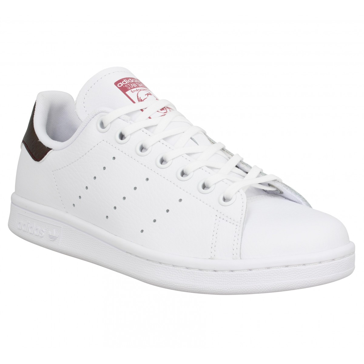 limited guantity best selling beauty ADIDAS Stan Smith cuir Femme Blanc Bordeaux
