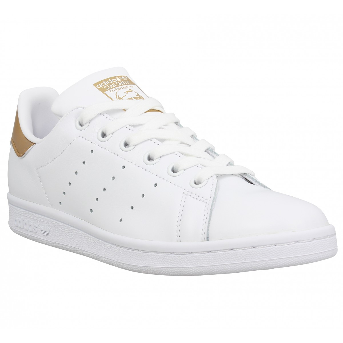 Baskets ADIDAS Stan Smith cuir Femme Blanc Or