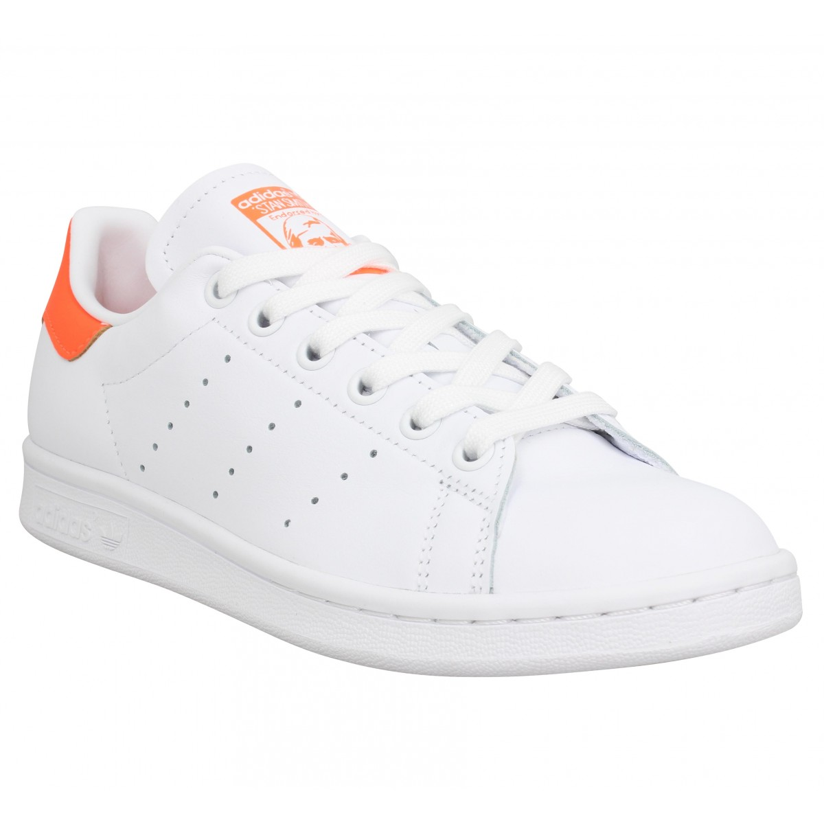 Baskets ADIDAS Stan Smith cuir Femme Blanc Orange