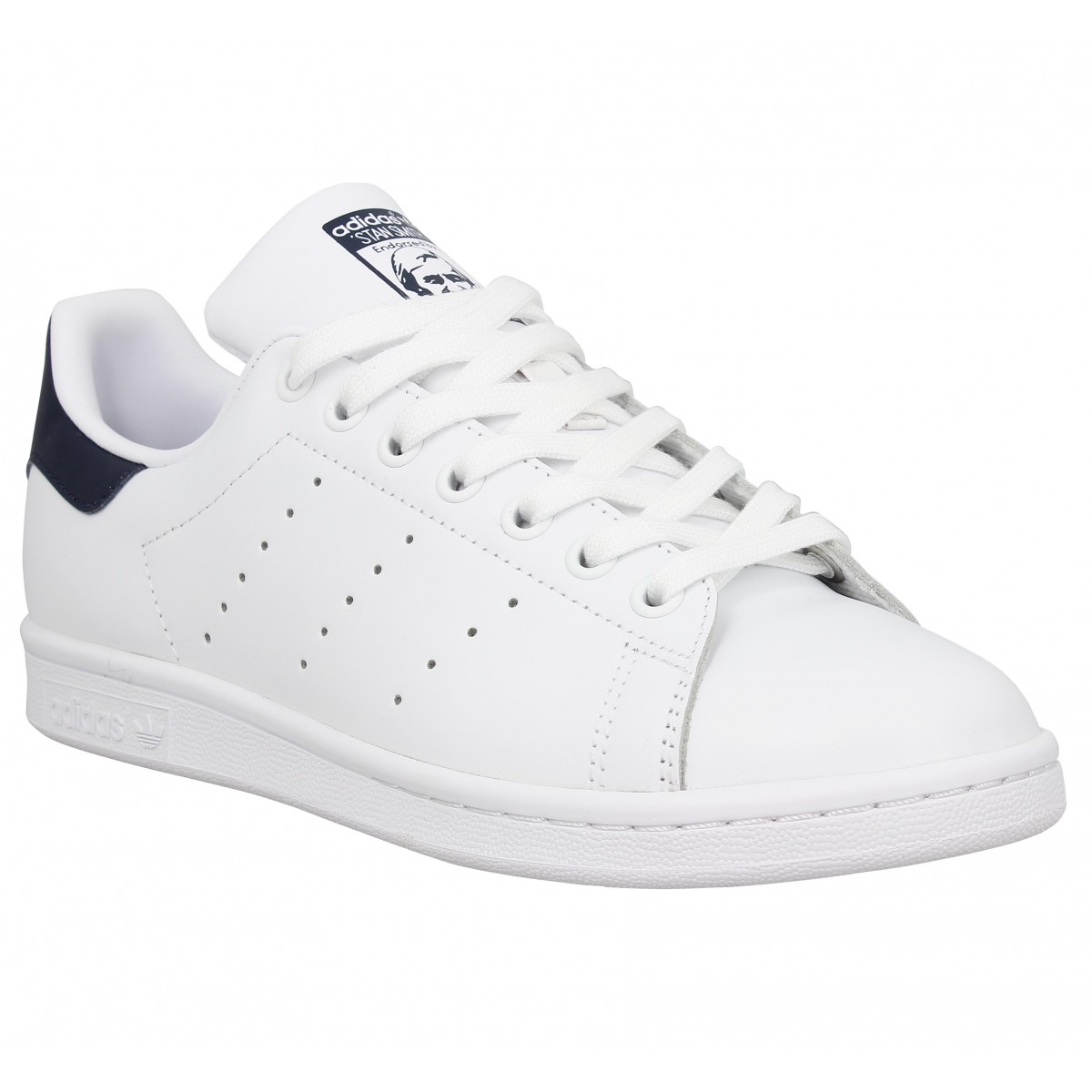 Baskets ADIDAS Stan Smith cuir Homme Blanc Marine