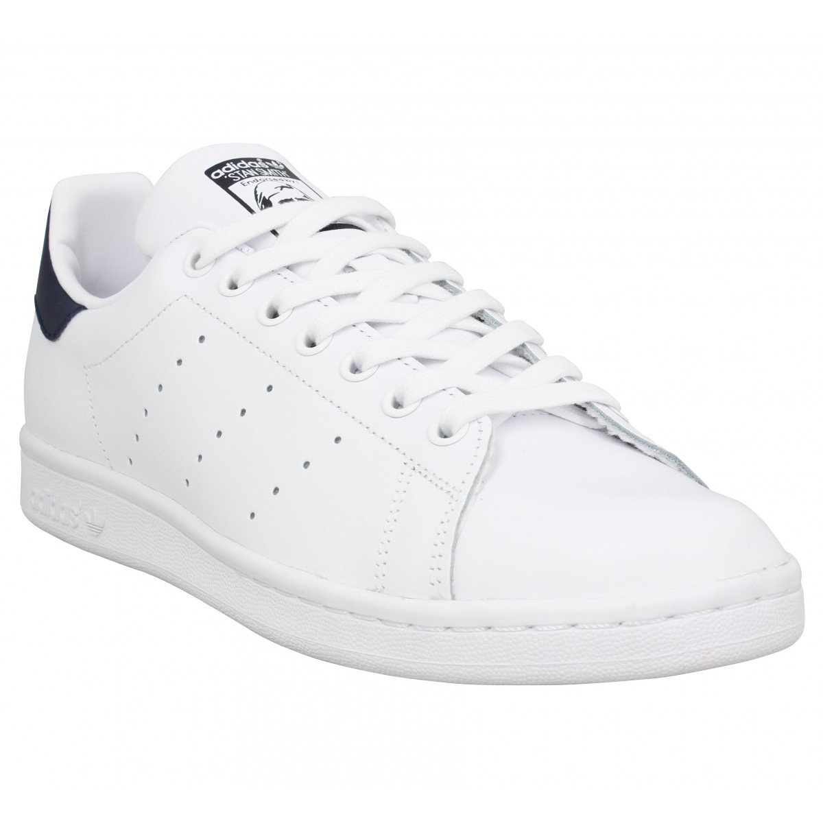 Baskets ADIDAS Stan Smith cuir Homme Blanc Navy