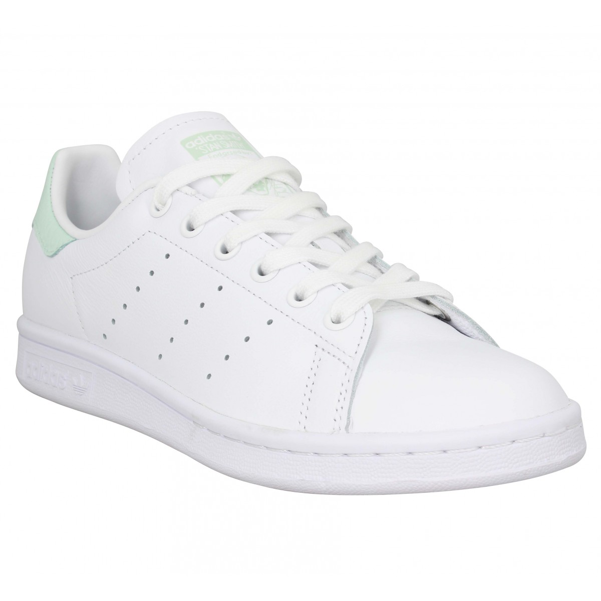 Baskets ADIDAS Stan Smith cuir viperine Femme Blanc Vert