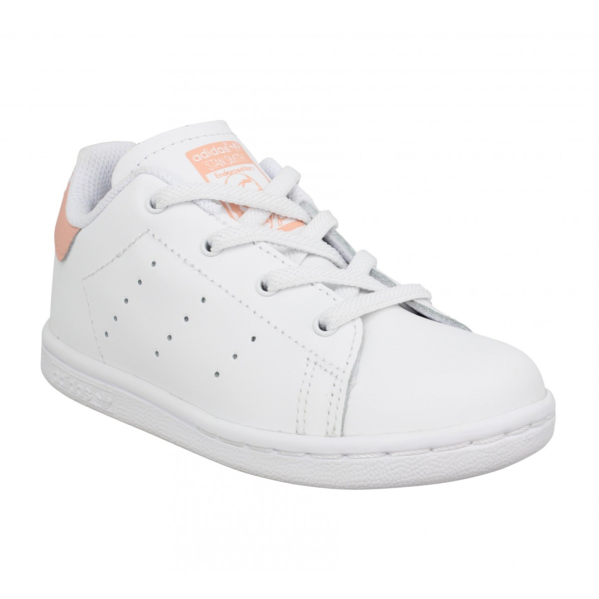 Baskets ADIDAS Stan Smith Cursive Logo cuir Enfant Blanc Rose
