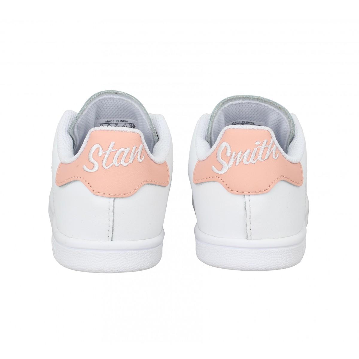 Adidas stan smith cursive logo cuir enfant blanc rose