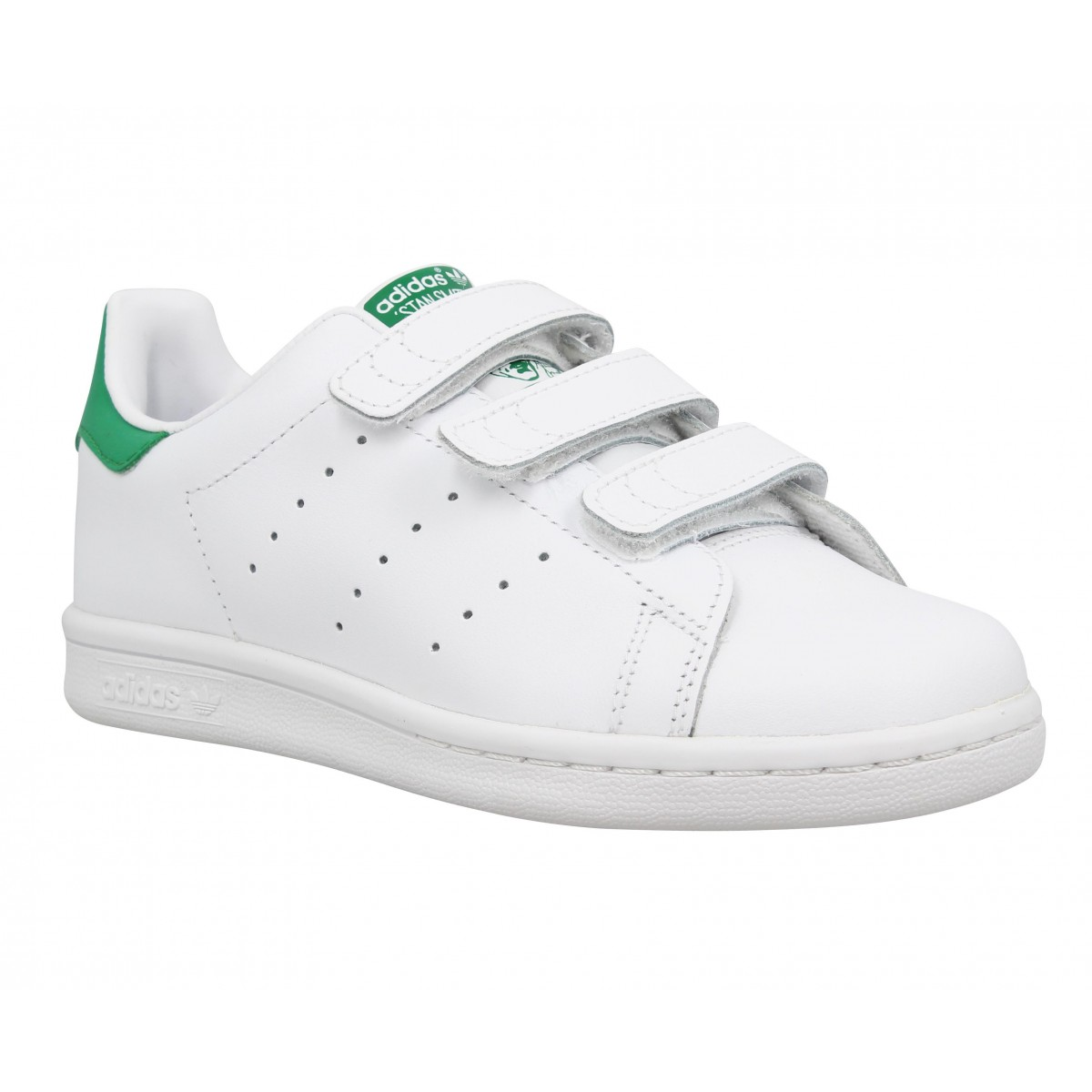 Baskets ADIDAS Stan Smith II cuir Enfant Blanc + Vert