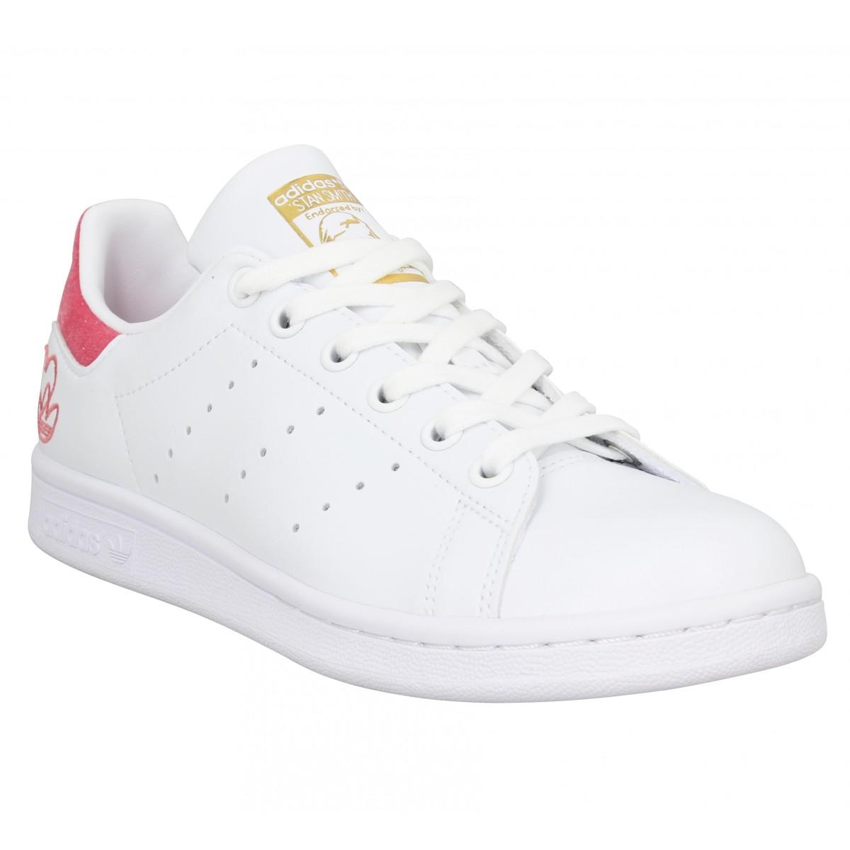 Chaussures Adidas stan smith vegan femme blanc rose femme | Fanny ...