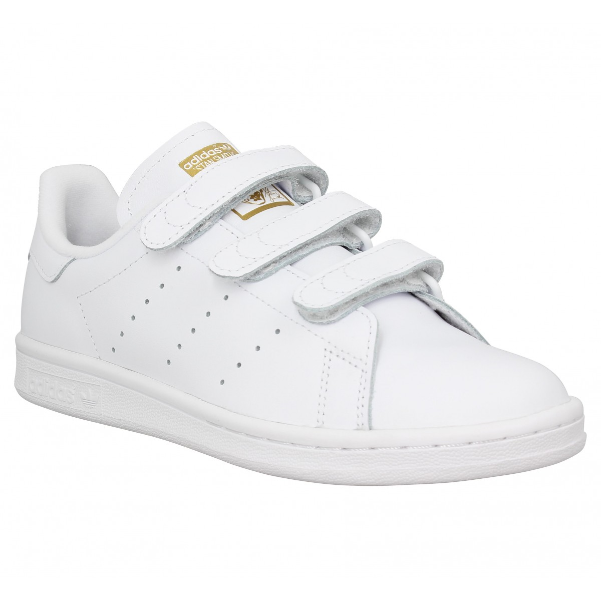finest selection e3fb3 e62c1 Baskets ADIDAS Stan Smith velcro cuir Femme Blanc