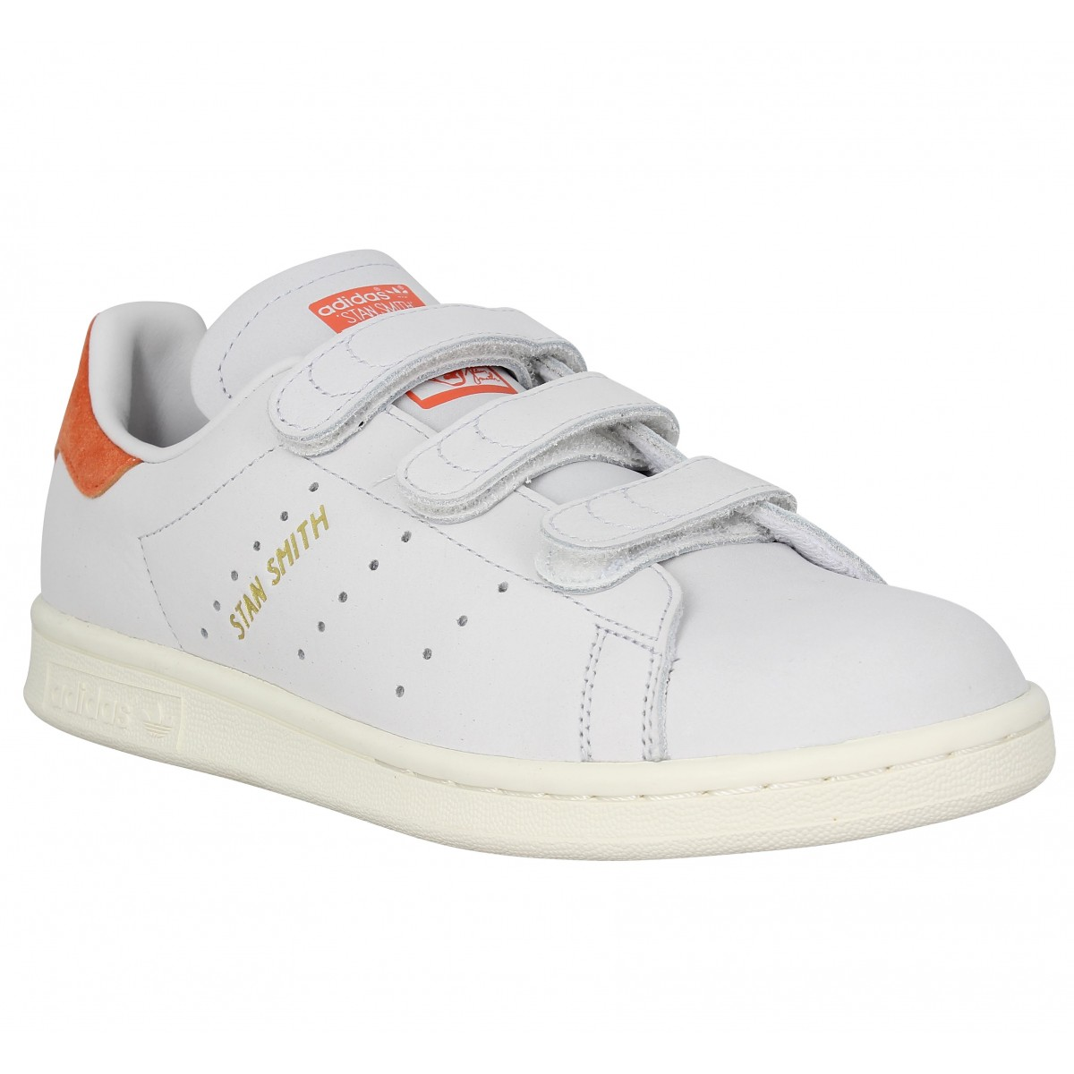 Baskets ADIDAS Stan Smith velcro nubuck Femme Blanc
