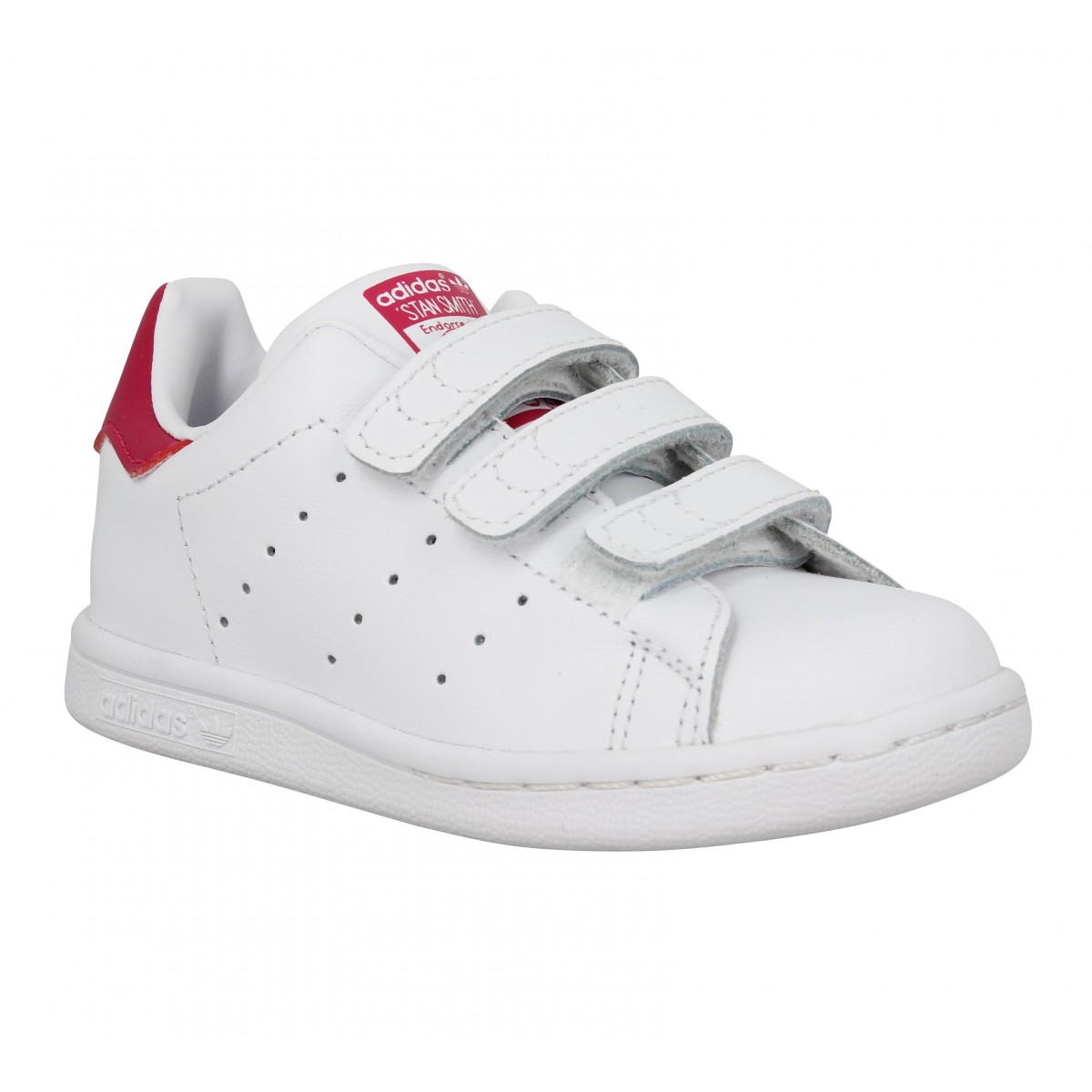 Baskets ADIDAS Stan Smith vl cuir Enfant Blanc + Rose