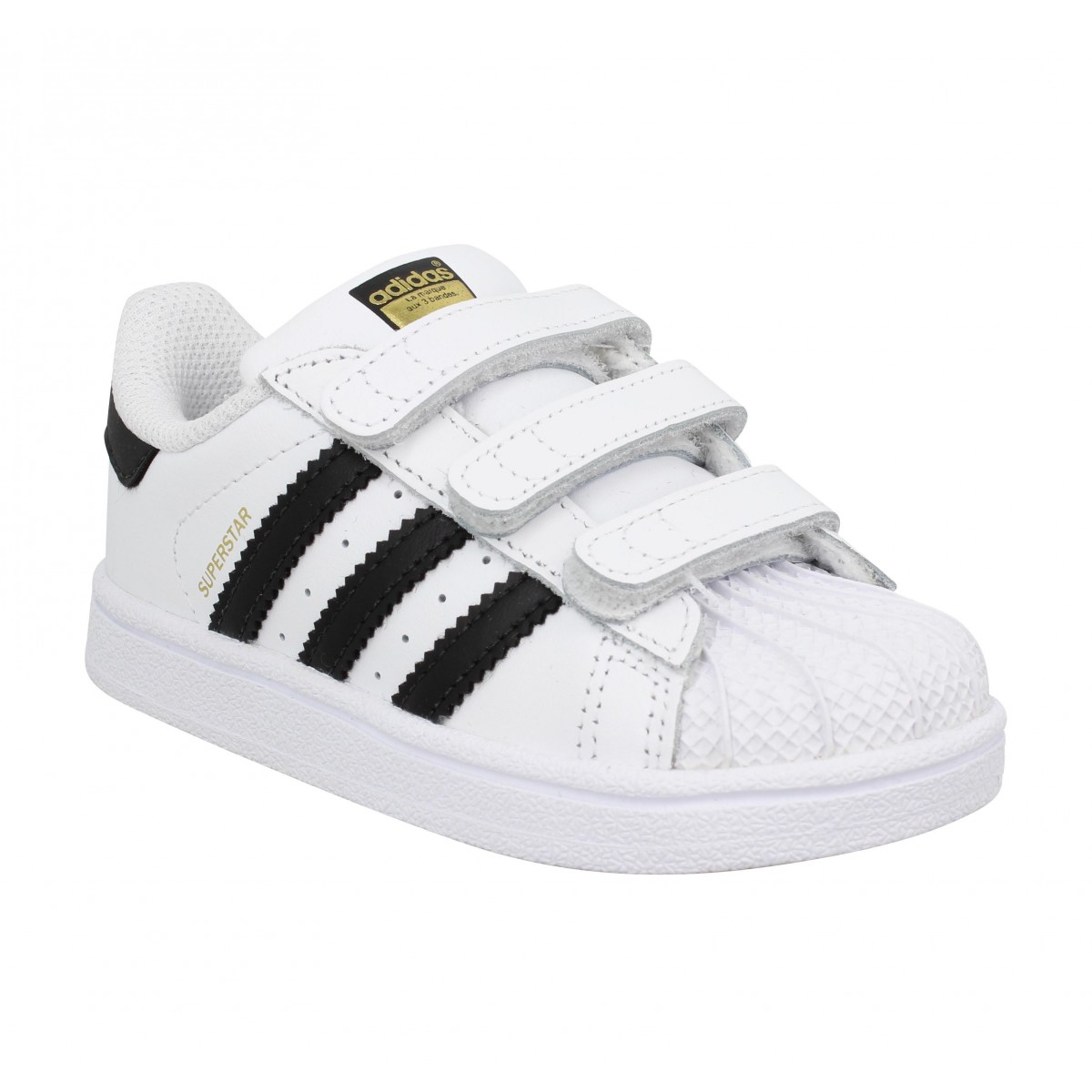 Baskets ADIDAS Superstar cuir Enfant Blanc Noir