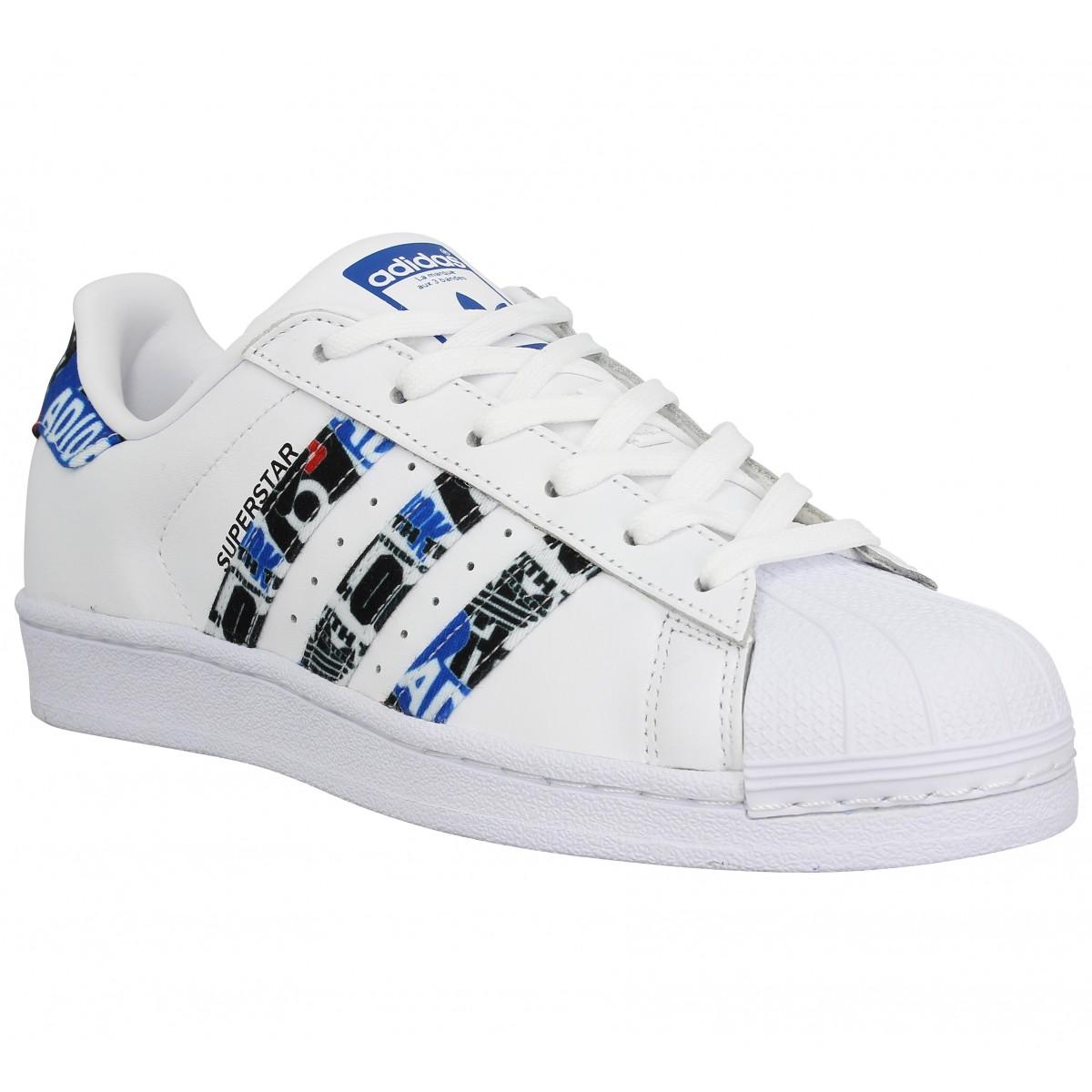 Baskets ADIDAS Superstar cuir Femme Blanc Bleu