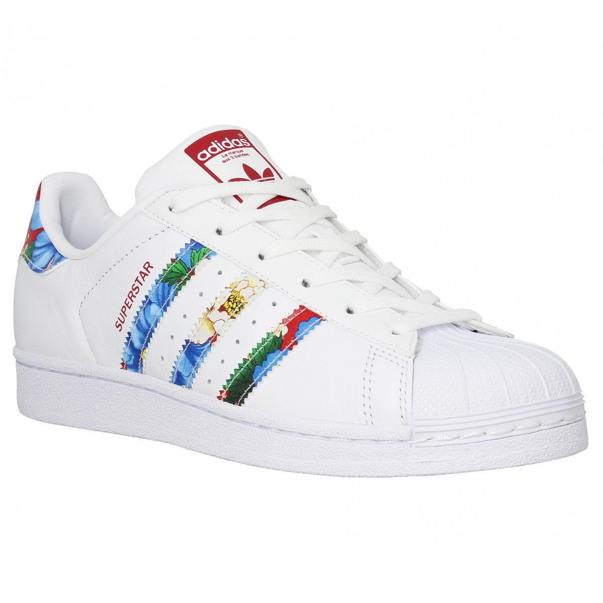 Baskets ADIDAS Superstar cuir Femme Blanc Red