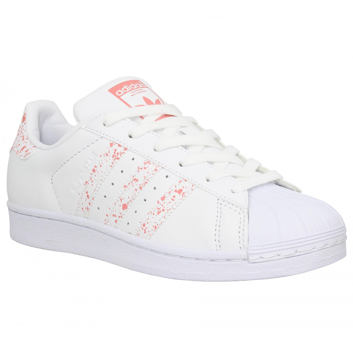 Baskets ADIDAS Superstar cuir Femme Blanc Rose