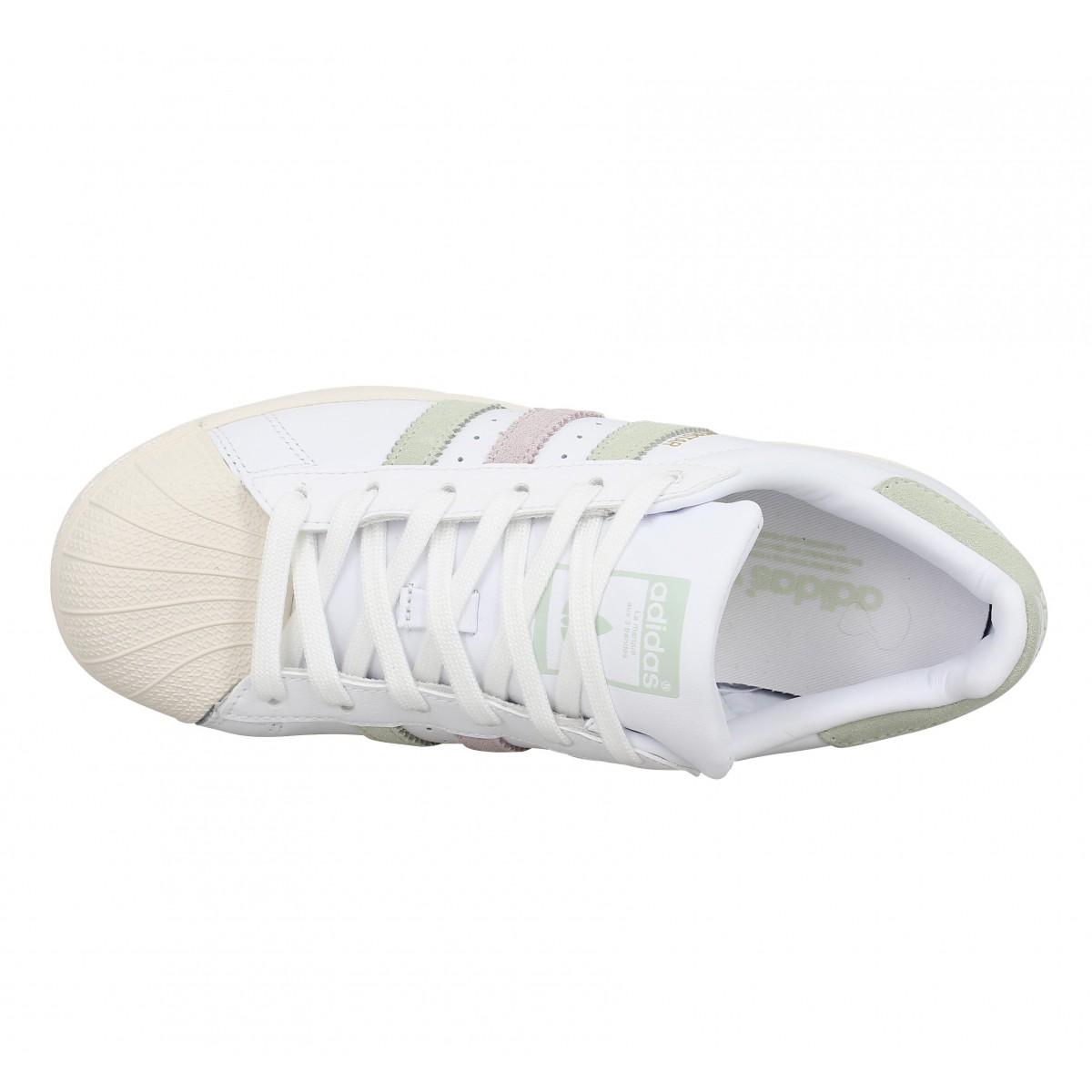 27cefd21080b6 Adidas superstar cuir blanc vert femme   Fanny chaussures