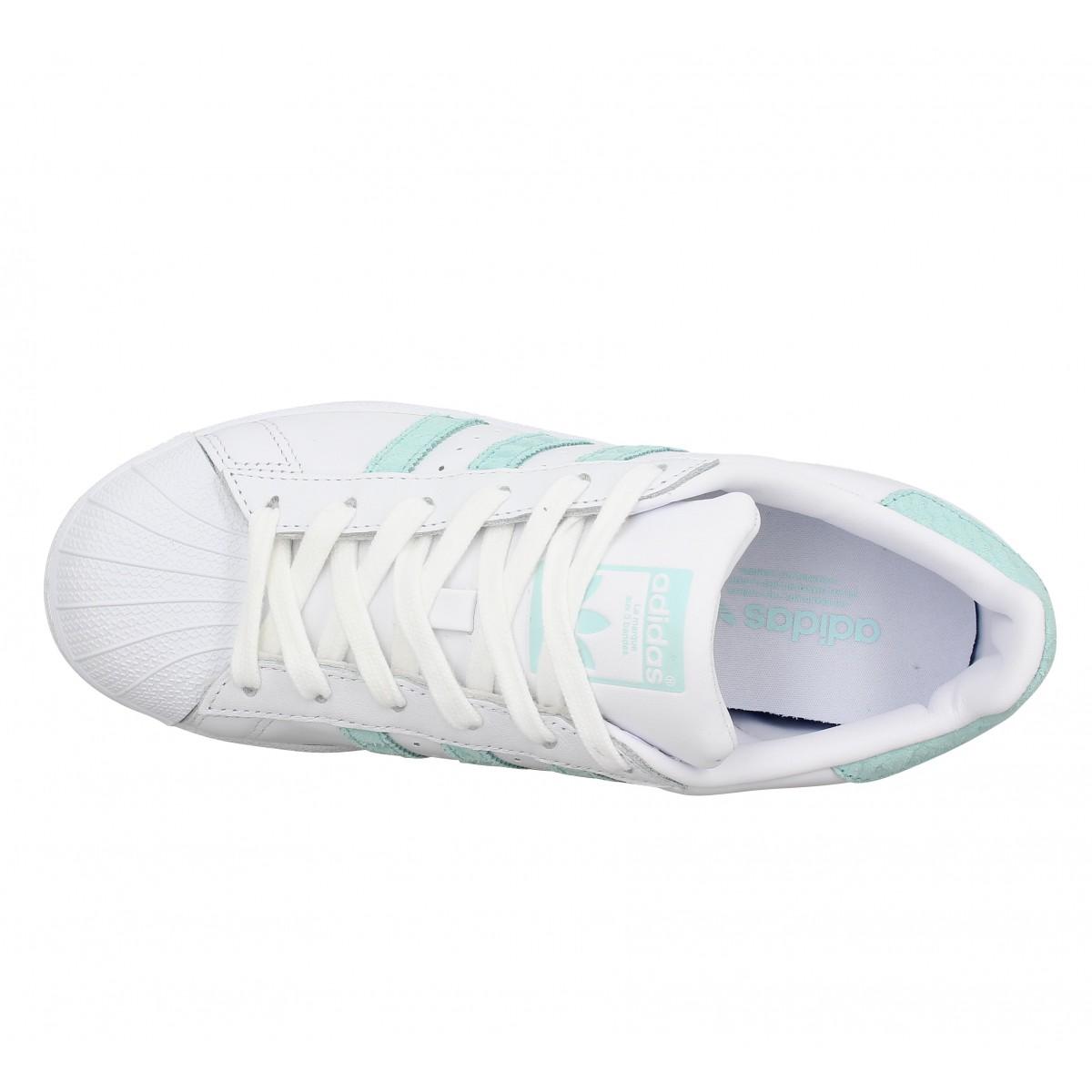 Chaussures Adidas superstar cuir femme blc vert femme
