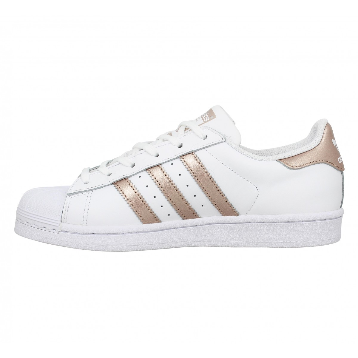Baskets ADIDAS Superstar Blanc Gold rose. 1