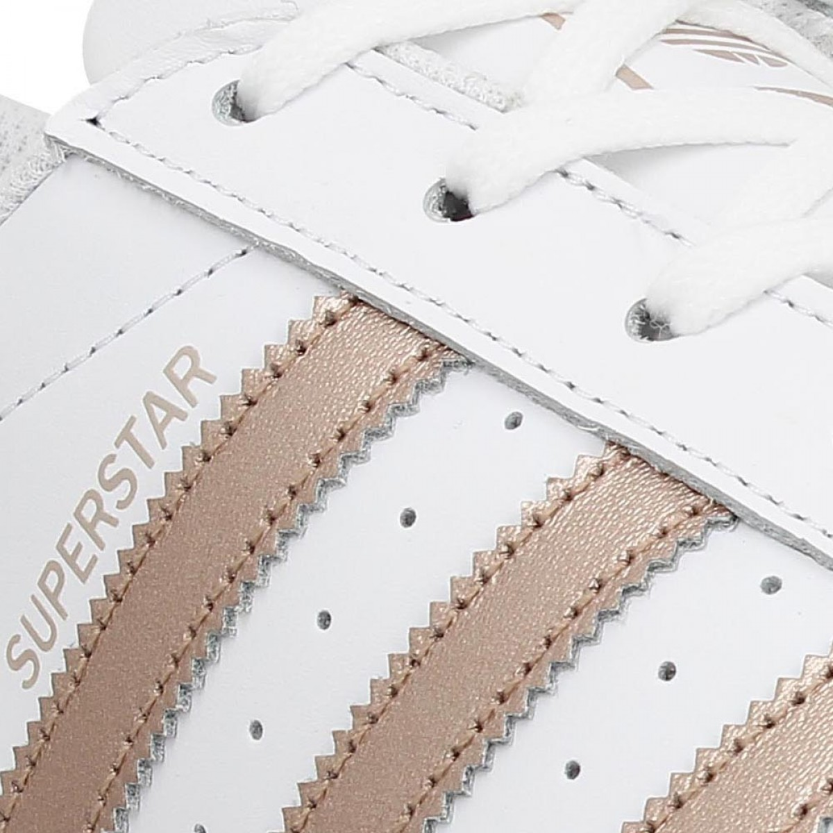 Chaussures Adidas superstar blanc gold rose femme | Fanny chaussures