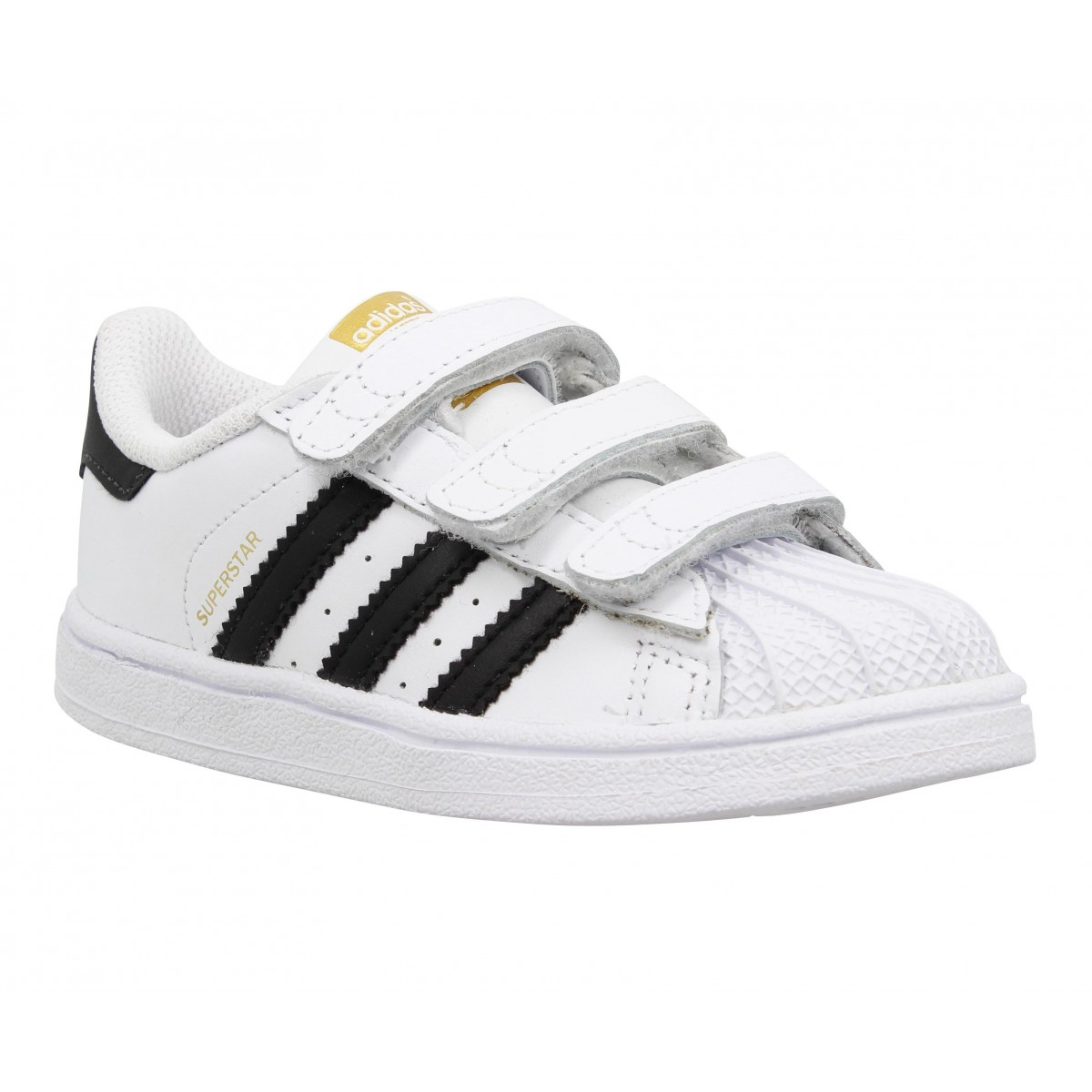 Baskets ADIDAS Superstar Foundation cuir Enfant Blanc + Noir