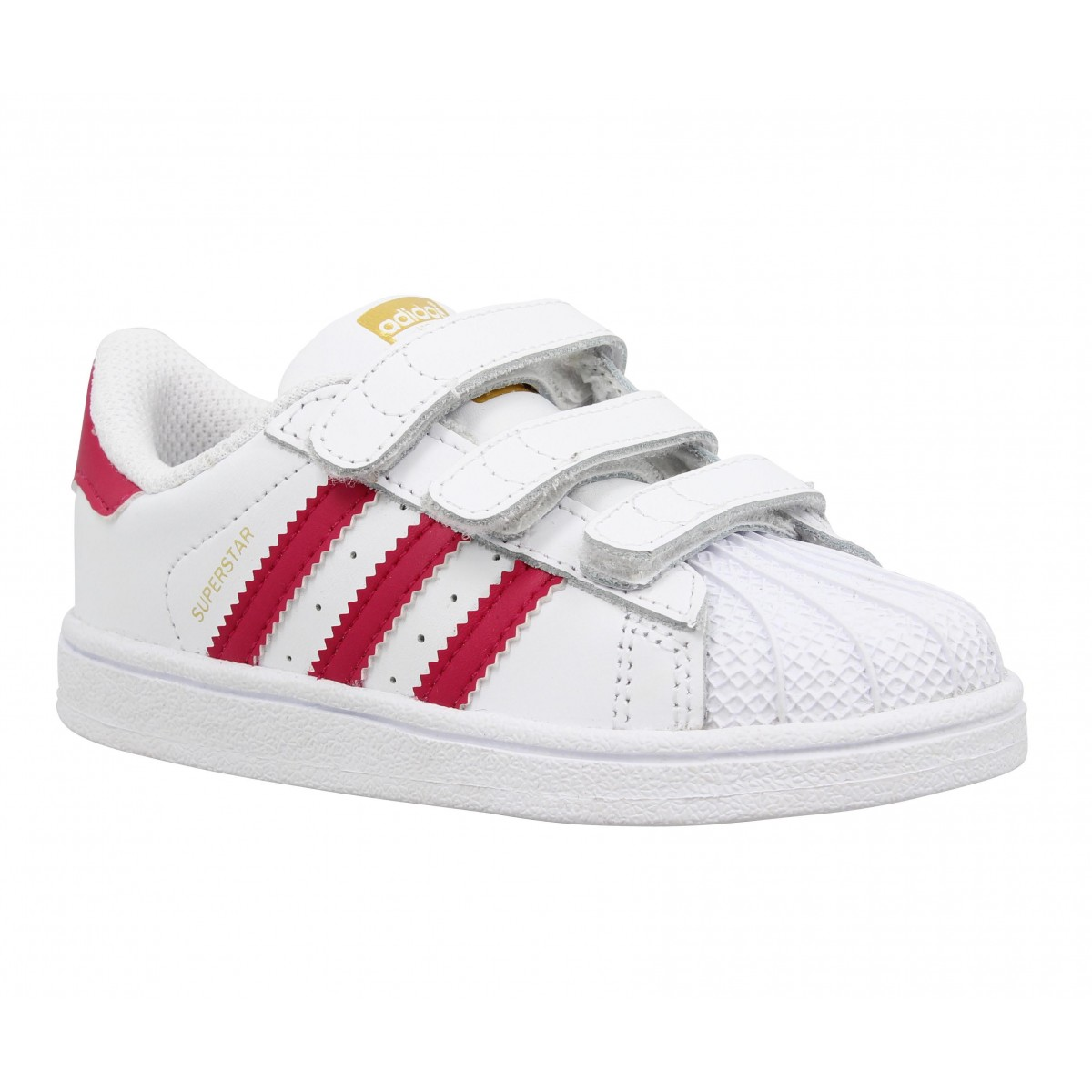 Baskets ADIDAS Superstar Foundation cuir Enfant Blanc + Rose
