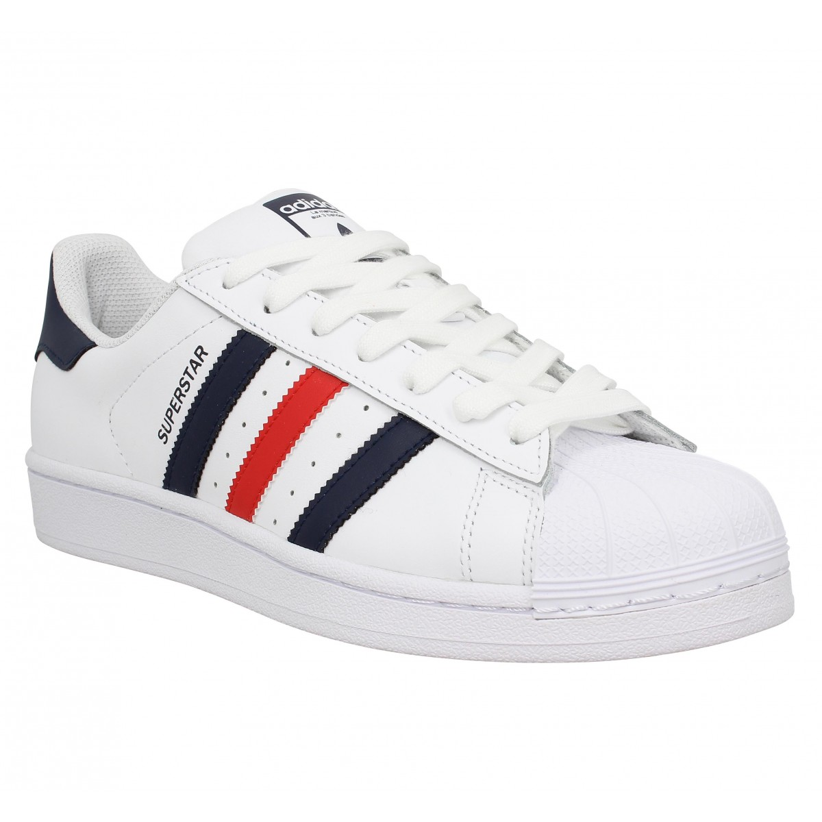 Baskets ADIDAS Superstar Foundation cuir Homme Blanc Bleu Rouge 00b4f559c85