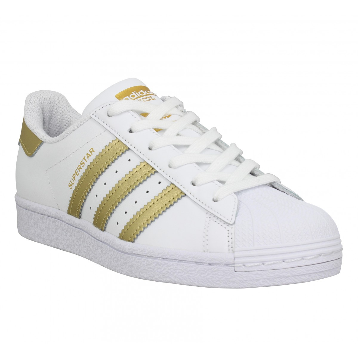 Baskets ADIDAS Superstar FX7483 cuir Femme Blanc Or