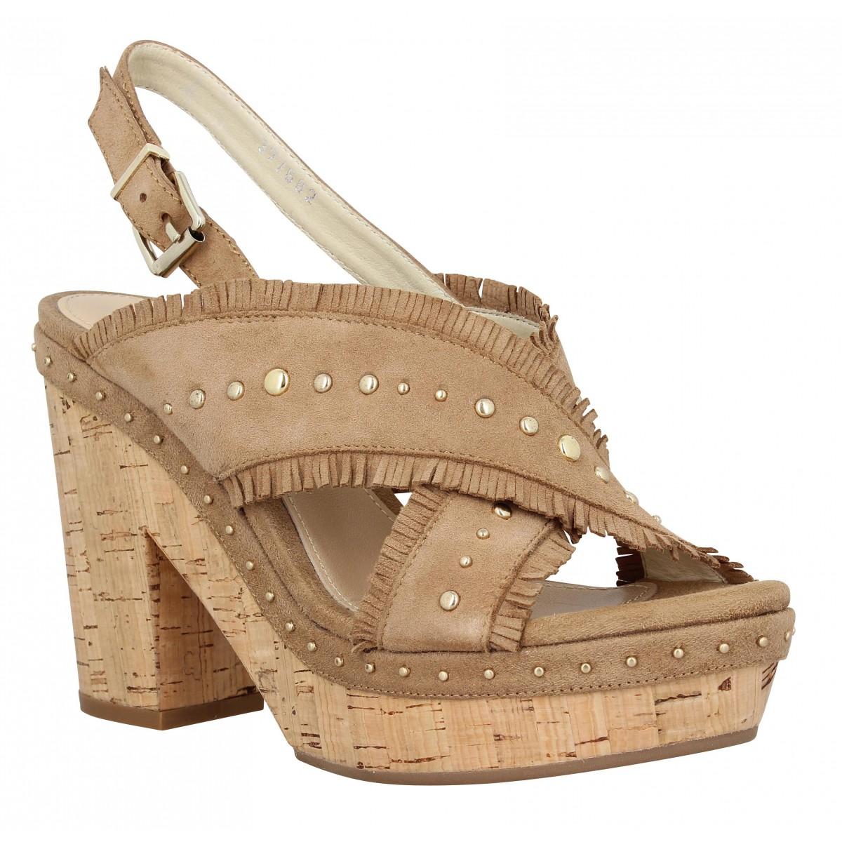 Sandales talons ALTRAOFFICINA J1000 velours Femme Beige