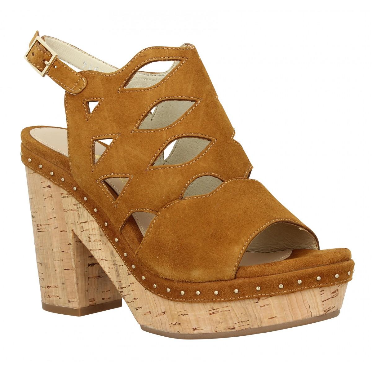 Sandales talons ALTRAOFFICINA J1005 velours Femme Cognac