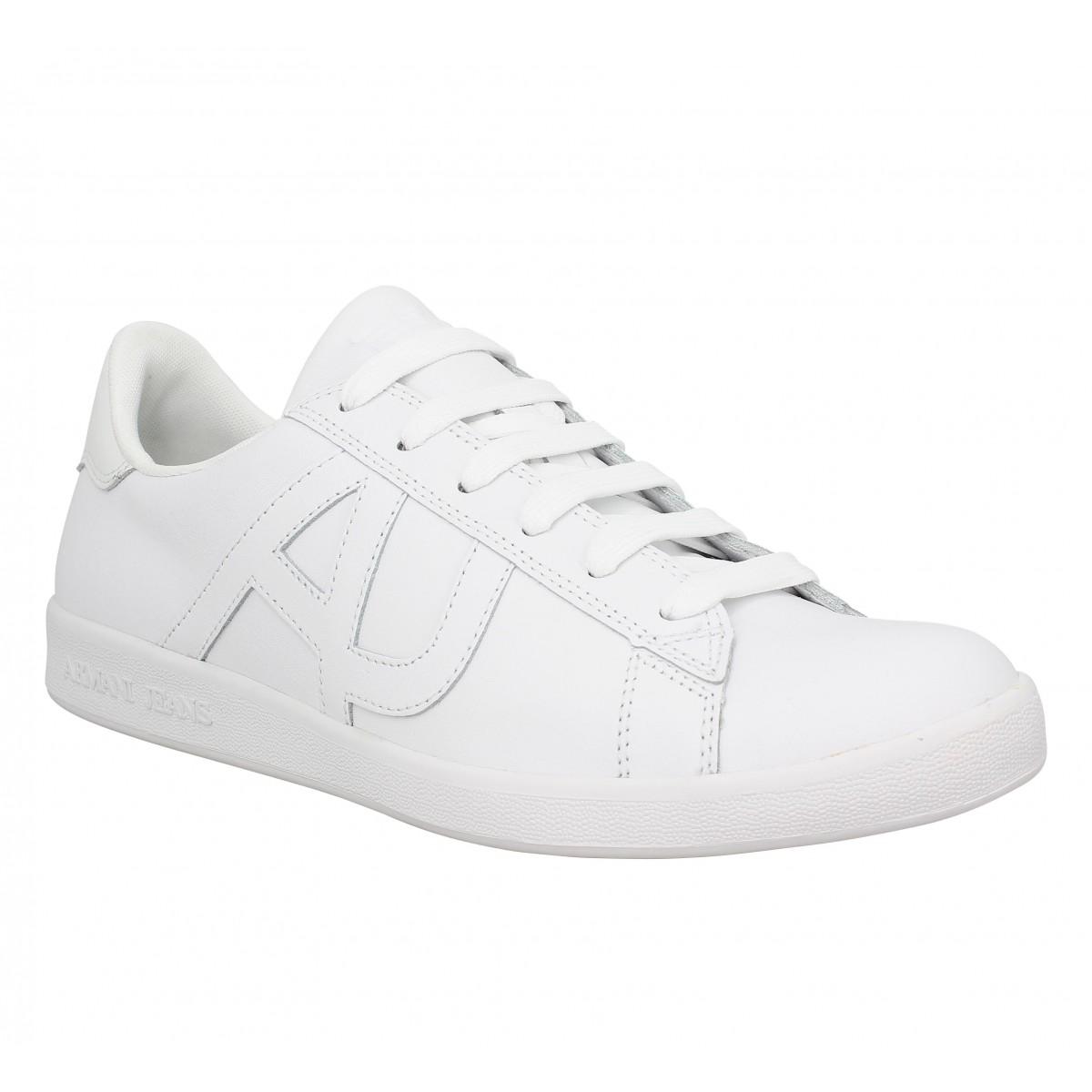 Armani jeans 6565 cuir homme blanc   Fanny chaussures 64b0bd87fae