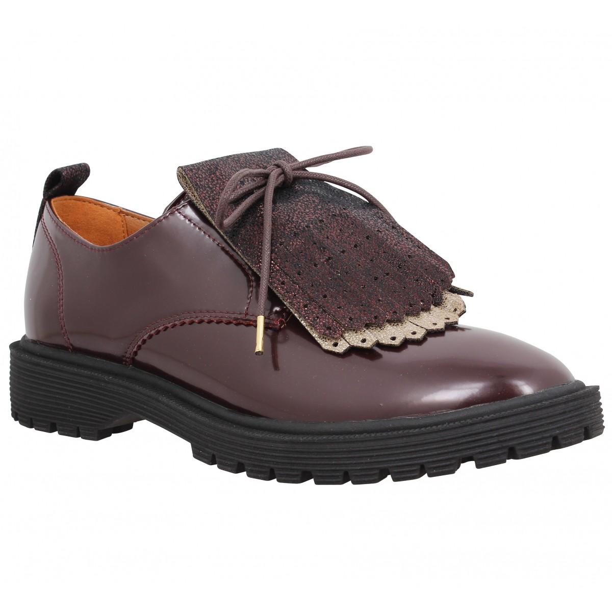 Chaussures à lacets ARMISTICE Rock Derby vernis Femme Bordeaux