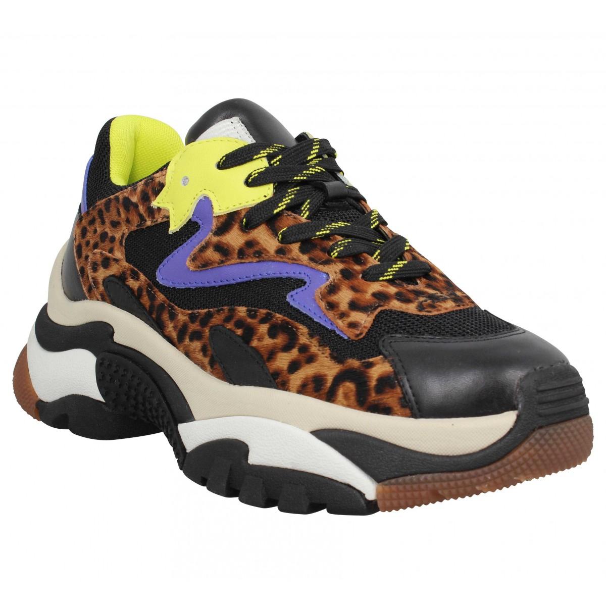 Baskets ASH Addict cuir pony Femme Noir Leopard